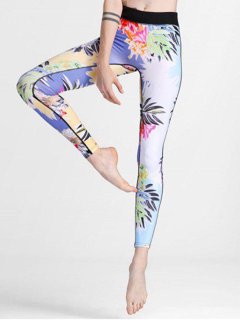 Leggings de la yoga de la impresión de la flor - Floral S Mobile
