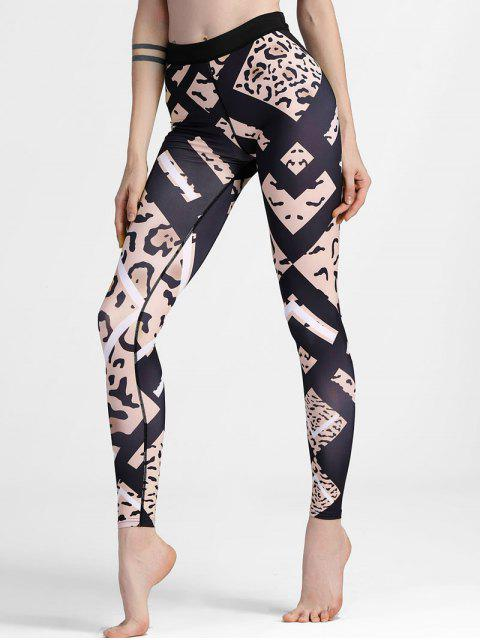 fancy Patterned Slimm Fit Yoga Leggings - BLACK L Mobile