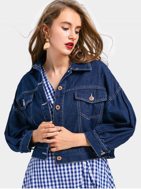 hot Applique Sequin Cropped Denim Jacket - DEEP BLUE L Mobile