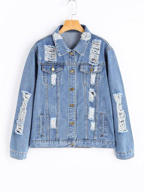 latest Boyfriend Ripped Denim Jacket - DENIM BLUE S Mobile