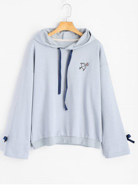fashion Embroidered Ribbon Bowknot Hoodie - STONE BLUE ONE SIZE Mobile