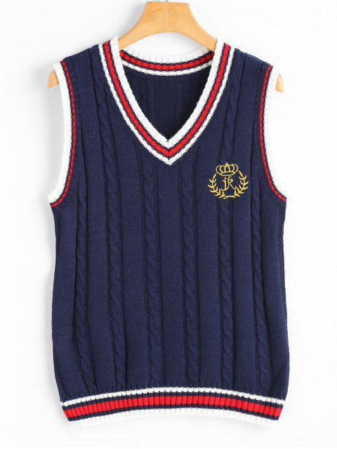 shops V Neck Patchwork Cable Knit Sweater Vest - PURPLISH BLUE ONE SIZE Mobile