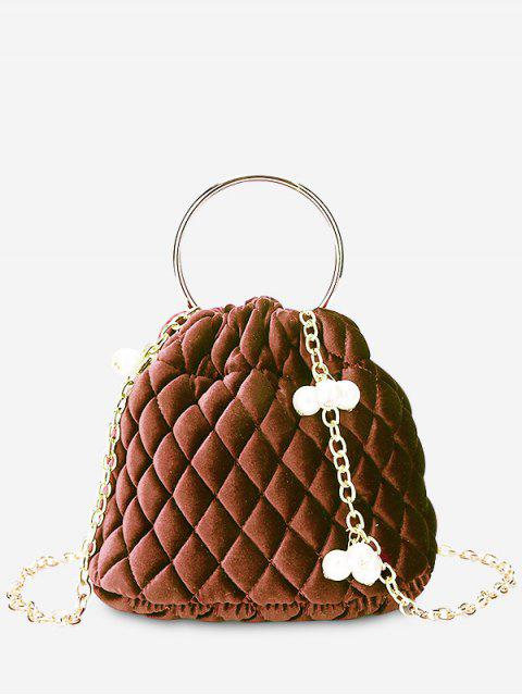 shop Stitching Quilted Faux Pearl Crossbody Bag - BROWN  Mobile
