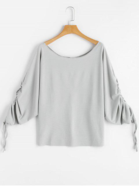 outfits Scoop Neck Ruched Dolman Sleeve Blouse - LIGHT GRAY M Mobile