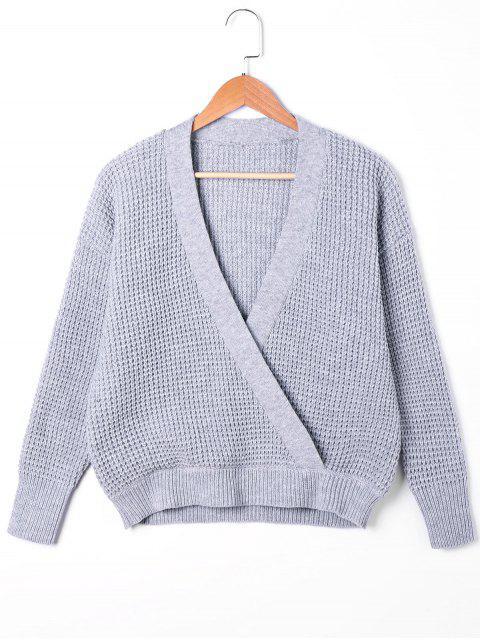 trendy Plunging Neck Surplice Sweater - GRAY S Mobile