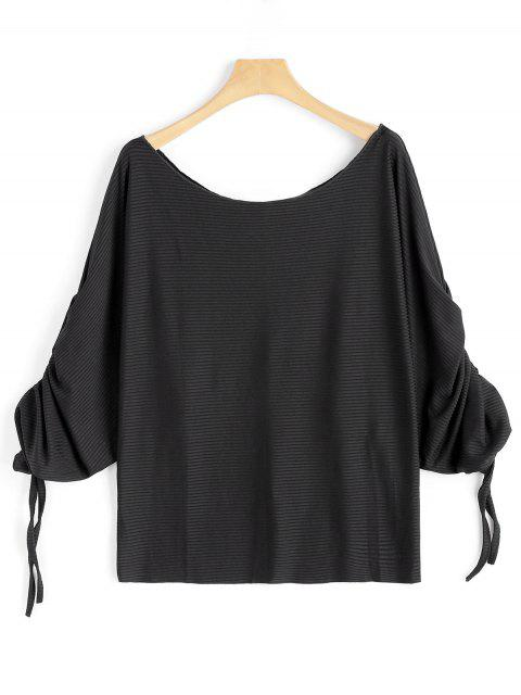 sale Scoop Neck Ruched Dolman Sleeve Blouse - BLACK L Mobile