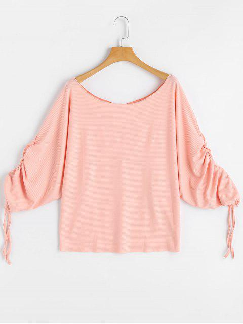 outfit Scoop Neck Ruched Dolman Sleeve Blouse - PINK L Mobile