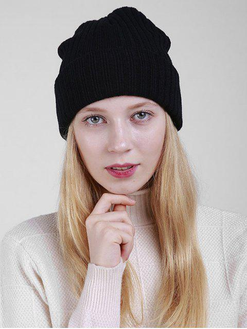 buy Plain Flanging Ribbed Knit Beanie - BLACK  Mobile