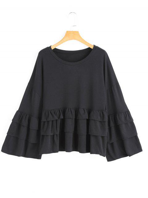 hot Tiered Flare Sleeve Plain Blouse - BLACK S Mobile