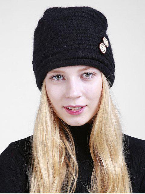 Slouchy Knit Beanie aus Holzknöpfen - Schwarz  Mobile