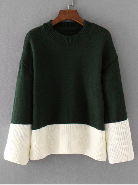 womens Oversized Two Tone Pullover Sweater - BLACKISH GREEN ONE SIZE Mobile