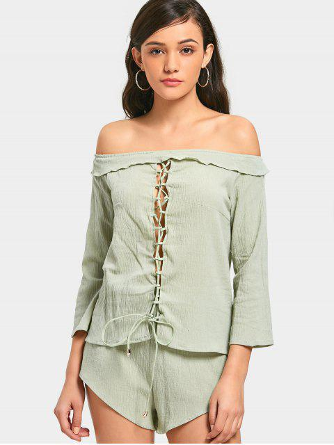 fashion Lace Up Off Shoulder Top and High Waisted Shorts - LIGHT GREEN L Mobile