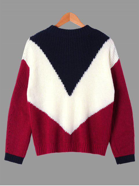 trendy Ribbed Color Block Crew Neck Sweater - COLORMIX XL Mobile