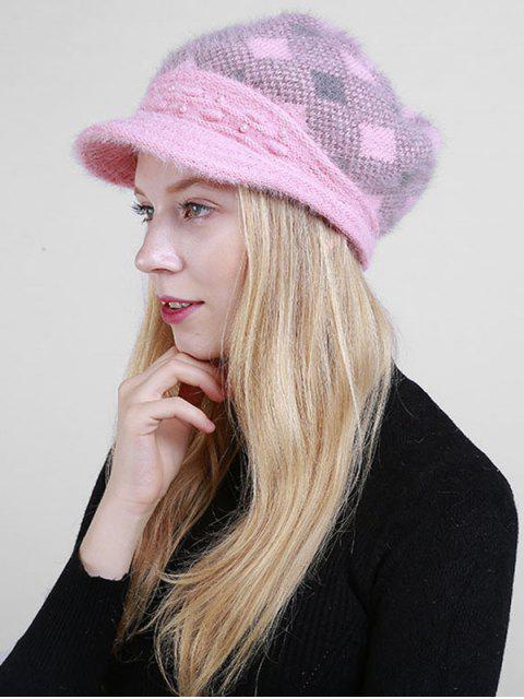 Sombrero de periódico con cuentas Plaid Rhombus - Rosa  Mobile