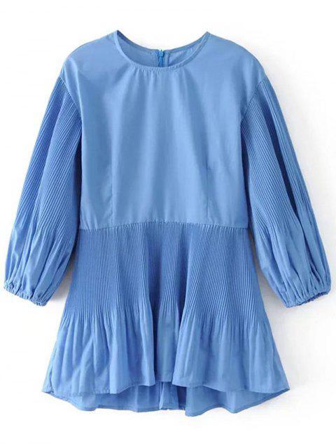 best Back Zip Pleated Panel Blouse - BLUE L Mobile