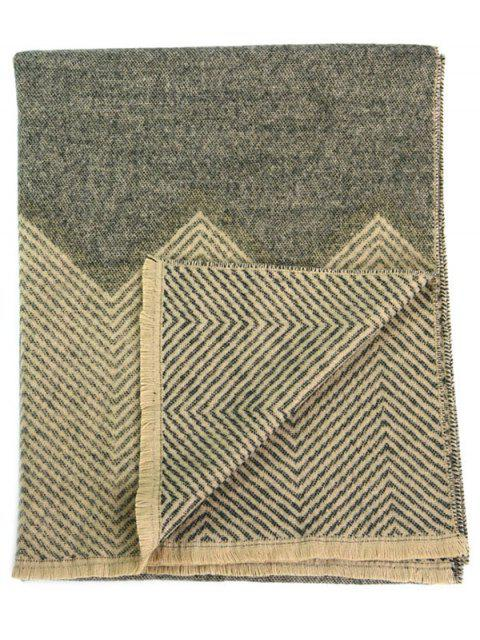 hot Zigzag Print Fringed Winter Scarf -   Mobile