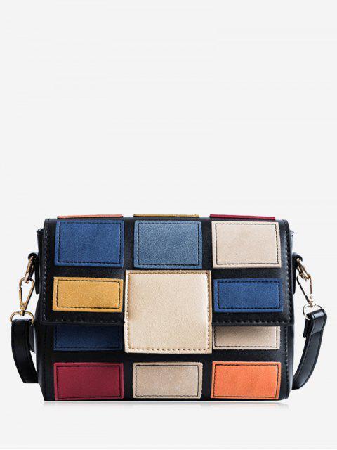 Bolso de Crossbody del color de la tela escocesa que contrasta - Negro  Mobile