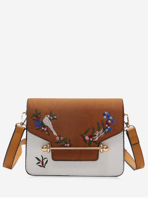 outfit Birds Embroidery Flower Crossbody Bag - BROWN  Mobile