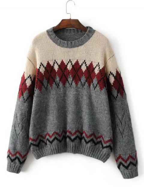 ladies Zig Zag Geometric Pullover Sweater - GRAY ONE SIZE Mobile