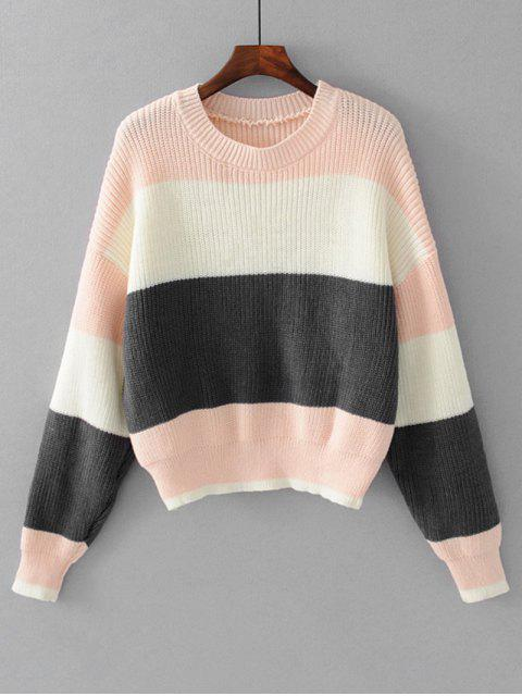 shop Contrasting Stripes Pullover Sweater - PINK ONE SIZE Mobile