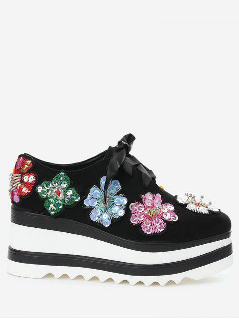 fashion Square Toe Flowers Wedge Shoes - BLACK 37 Mobile