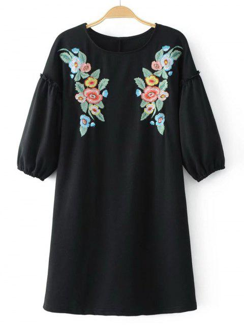 hot Casual Floral Embroidered Tee Mini Dress - BLACK M Mobile