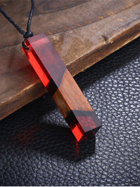 shop Resin Wood Geometric Pendant Necklace -   Mobile