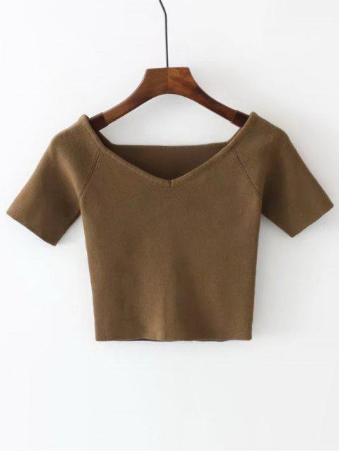 affordable Cropped Knitted Off Shoulder Top - BROWN ONE SIZE Mobile