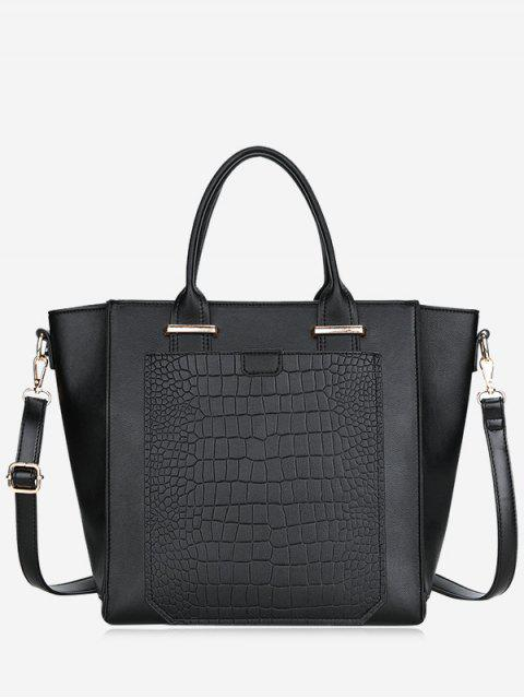fashion PU Leather Embossing Handbag - BLACK  Mobile