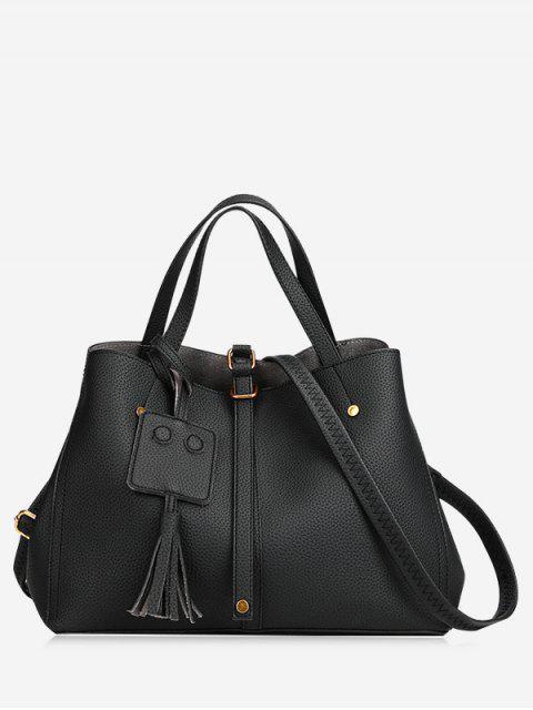 Schnallenriemen Nieten Quaste Handtasche - Schwarz  Mobile