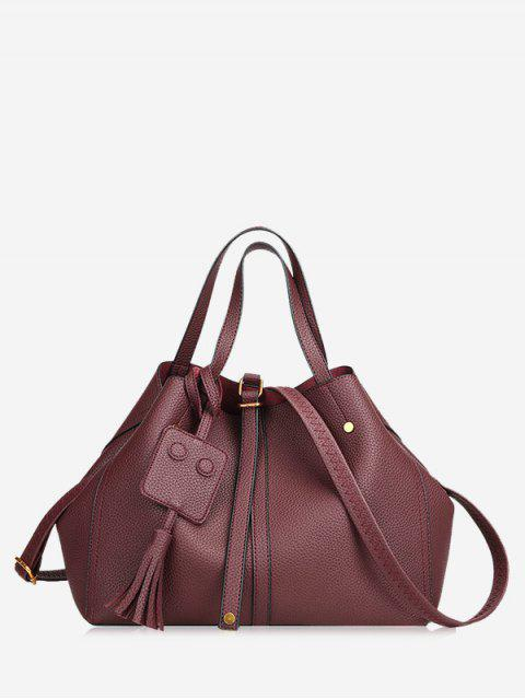 affordable Buckle Strap Studs Tassel Handbag - WINE RED  Mobile