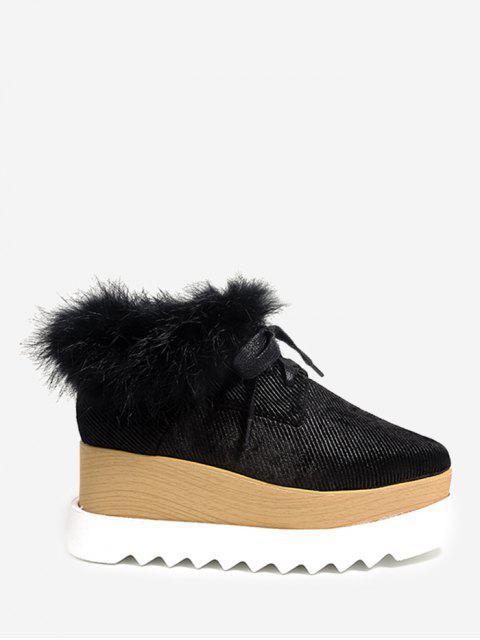 shop Faux Fur Square Toe Velvet Platform Shoes - BLACK 39 Mobile