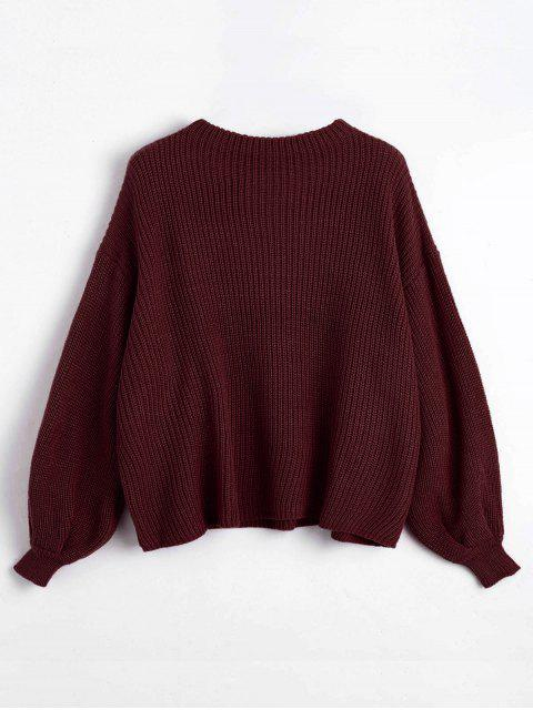 new ZAFUL Oversized Chevron Patches Pullover Sweater - DARK RED ONE SIZE Mobile