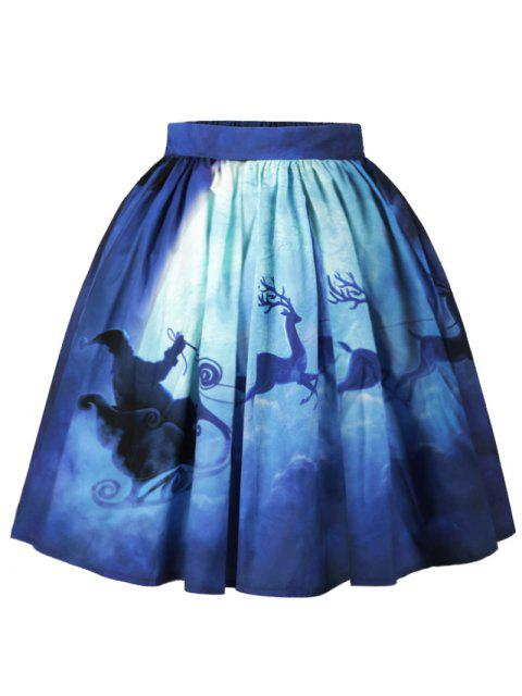 women Christmas Santa Claus Elk Moon Print Skirt - BLUE M Mobile