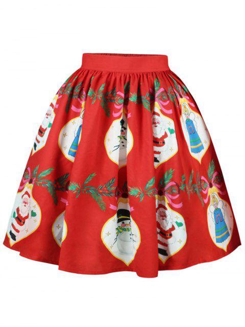 hot Christmas Snowman Santa Claus A Line Skirt - RED XL Mobile