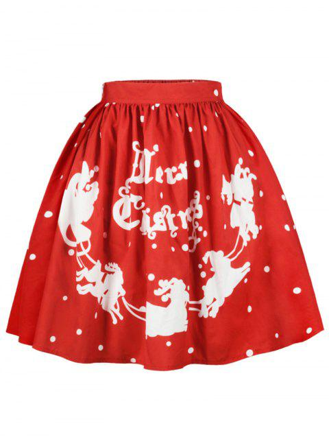 women Christmas Polka Dot Sled Print Skirt - RED L Mobile
