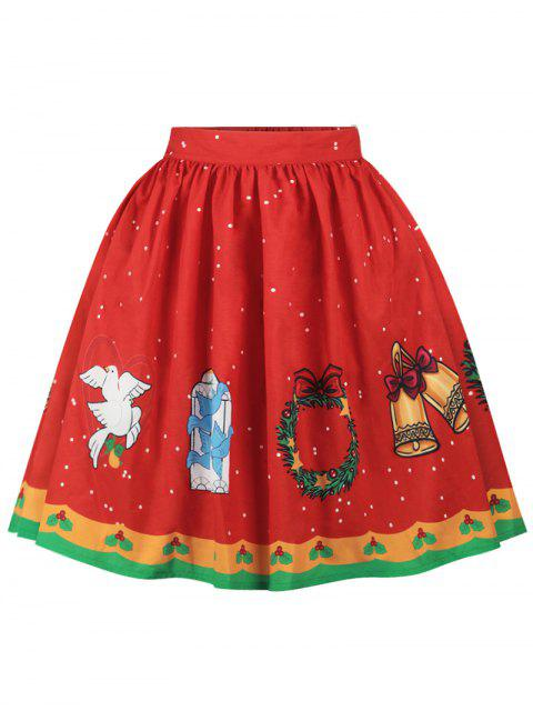 chic Christmas Bell Bird Print A Line Skirt - RED S Mobile