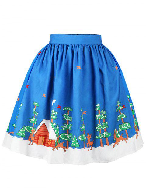 lady Christmas Butterfly Elk Tree Print Skirt - BLUE L Mobile