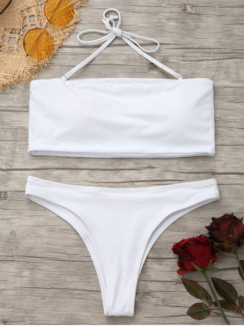 latest High Cut Bandeau Thong Bathing Suit - WHITE XS Mobile