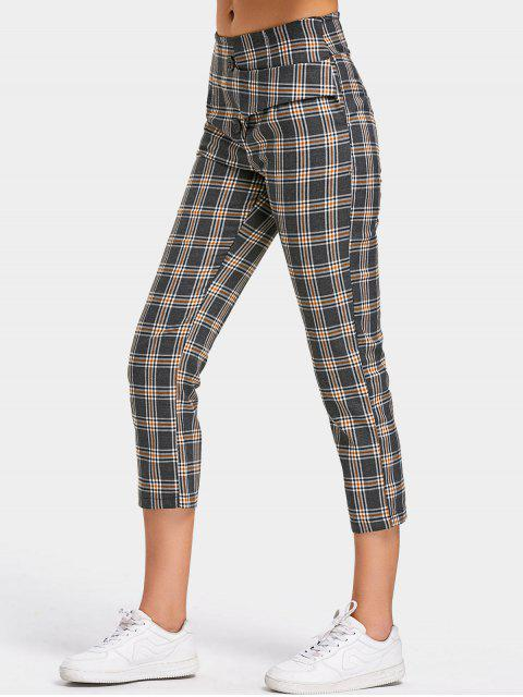 unique Back Faux Pocket Checked Capri Pants - CHECKED M Mobile