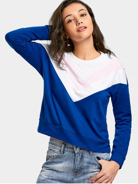 womens Drop Shoulder Contrast Sweatshirt - BLUE S Mobile