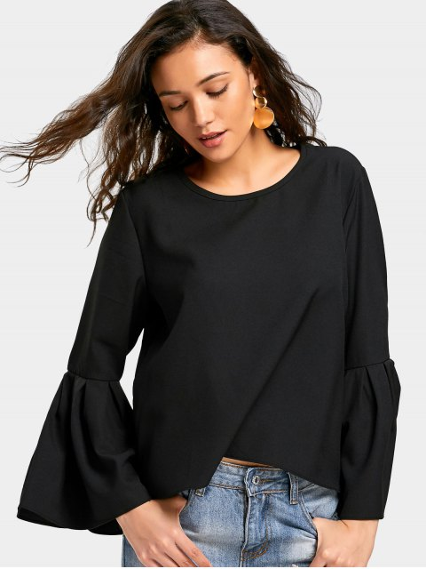 women Round Neck Flare Sleeve Blouse - BLACK S Mobile