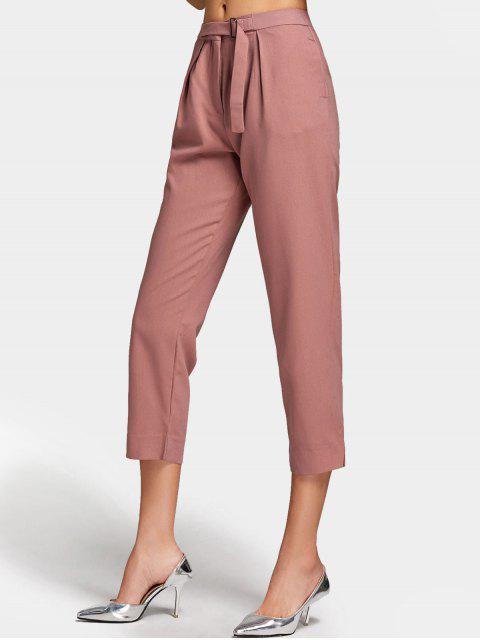latest Side Pockets Slit Capri Pants - BEAN PASTE COLOR M Mobile