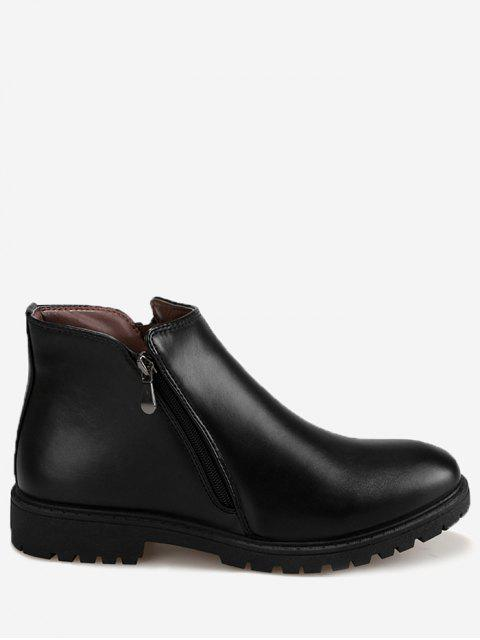 Faux Leather Side Zip Ankle Boots - Noir 43 Mobile