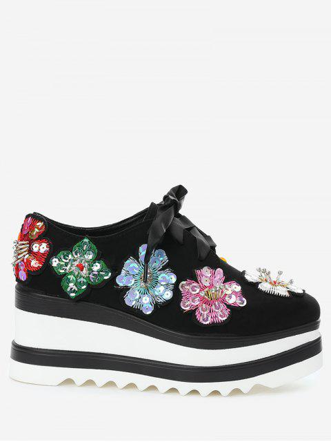 fashion Square Toe Flowers Wedge Shoes - BLACK 37 Mobile