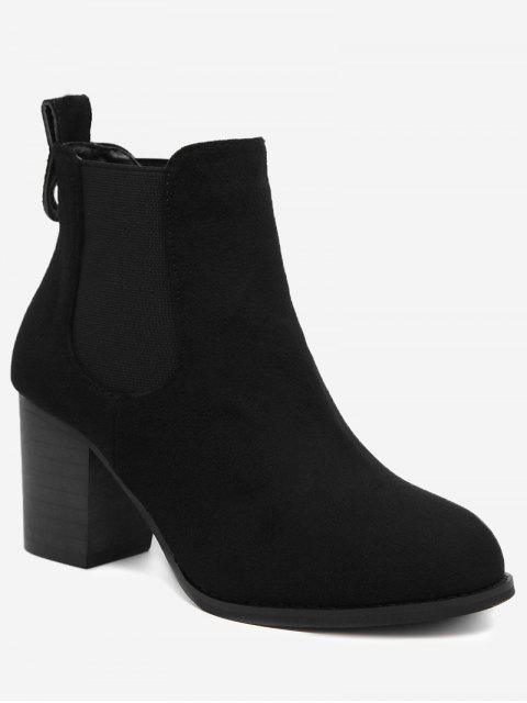 fashion Elastic Band Chunky Heel Ankle Boots - BLACK 38 Mobile