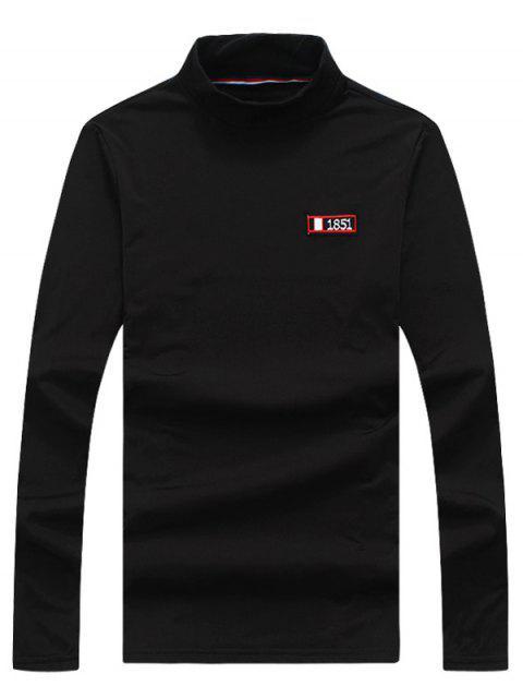 Turtle Neck Stretchy Applique Camiseta de manga larga - Negro XL Mobile