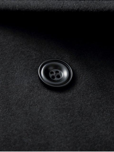 latest Turndown Collar Double Breasted Longline Woolen Peacoat - BLACK 2XL Mobile