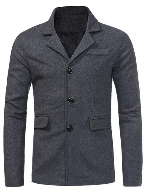buy Turndown Collar Single Breasted Pocket Woolen Coat - DEEP GRAY XL Mobile
