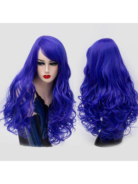 Lado largo Bang Shaggy Curly peluca sintética Partido - Azul Zafiro  Mobile